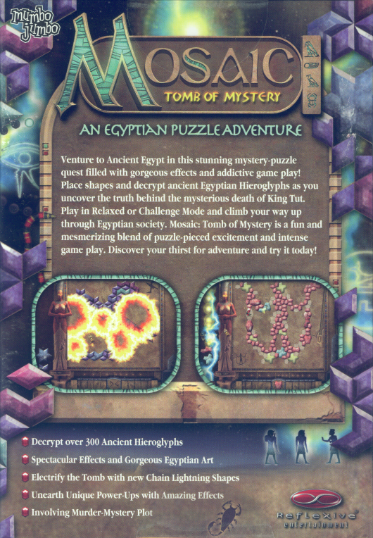 Retail box back Mosaic: Tomb of Mystery PC.