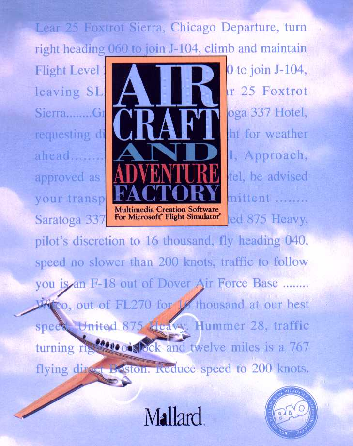 Packaging cover Aircraft And Adventure Factory.