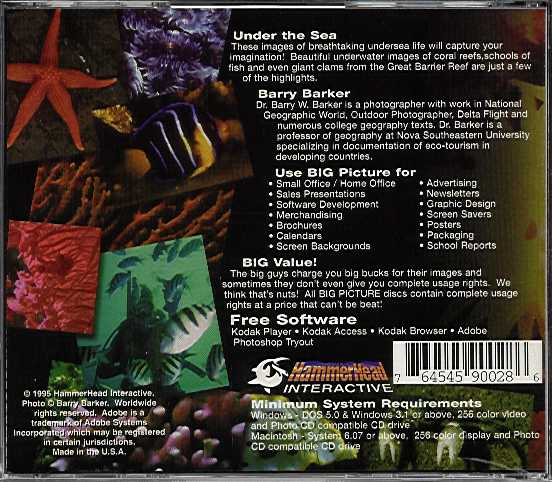 Jewel Case back Big Picture: Under The Sea.