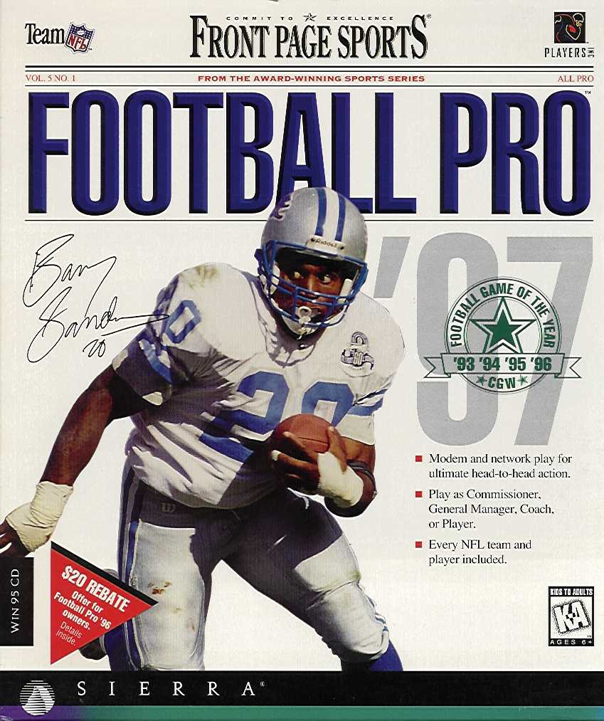 Packaging cover Front Page Sports Football Pro '97.
