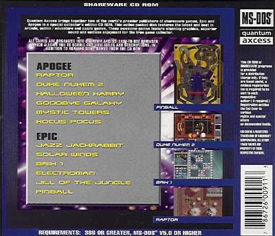 Retail Box back Best Of Epic And Apogee Games.