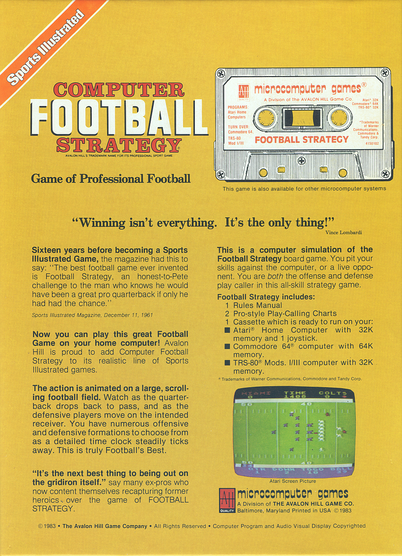 Retail Box back Sports Illustrated Computer Football Strategy.