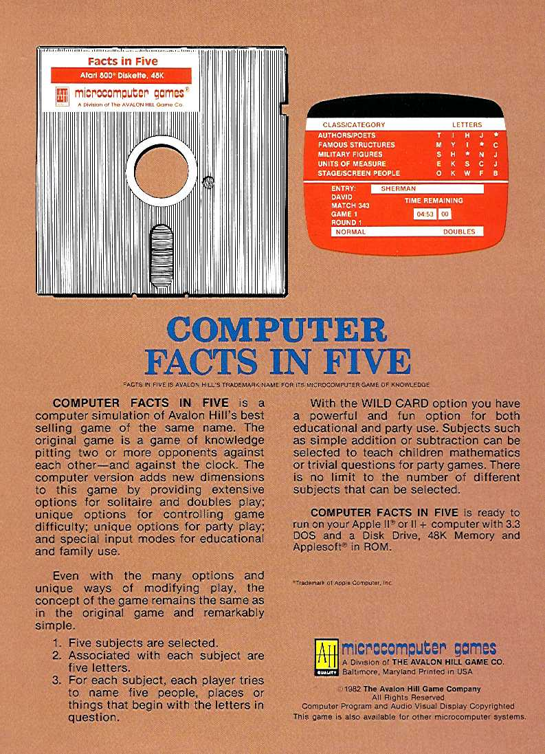Retail Box back Computer Facts In Five.