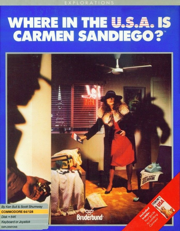 Packaging cover Where In The USA Is Carmen Sandiego? C64.