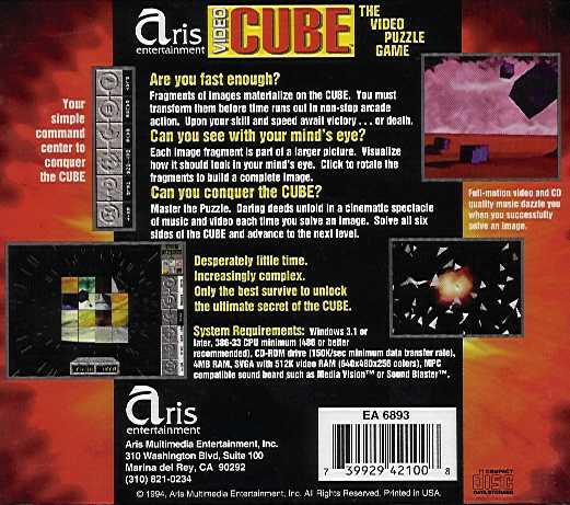 Jewel Case back Video Cube Space.