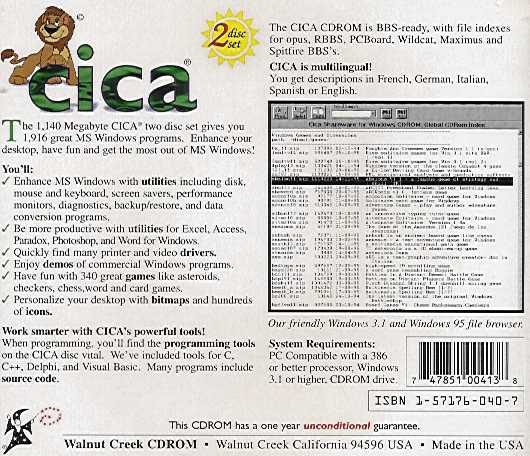 Jewel Case back CICA 8/96.
