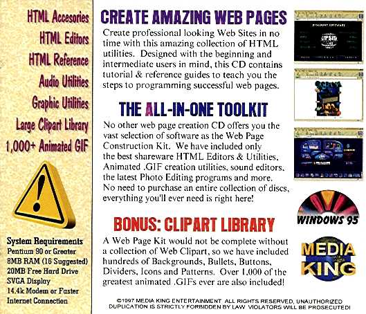 Jewel Case back Web Page Construction Kit.