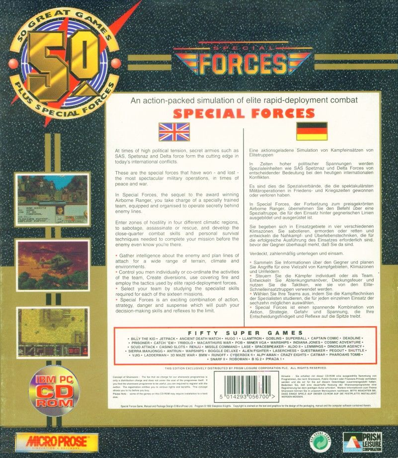 Retail Box back 50 Great Games Plus Special Forces.