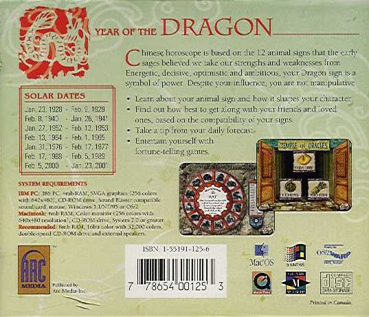 Jewel Case back Chinese Horoscope Year Of The Dragon.