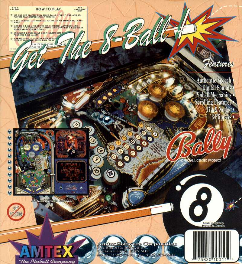 Retail Box back Eight Ball Deluxe Pinball.