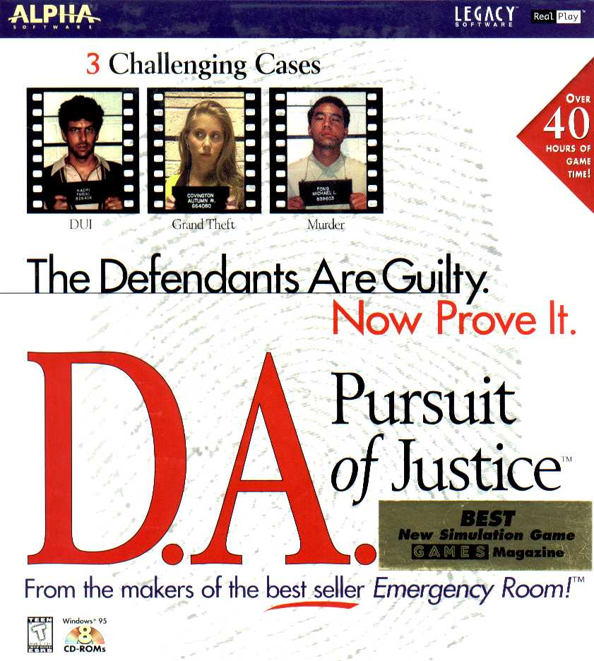 Packaging cover D.A. Pursuit Of Justice.