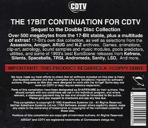 Jewel Case back 17 Bit The Continuation Disc.