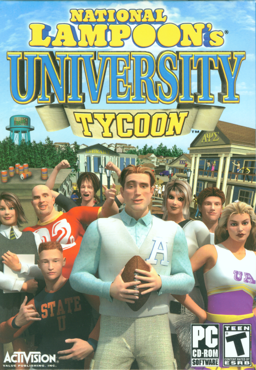 Retail box cover National Lampoon's University Tycoon PC.