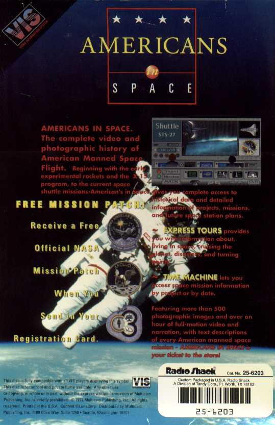 Retail Box back Americans In Space.