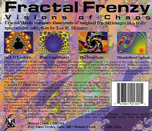 Retail Box back Fractal Frenzy Visions Of Chaos.