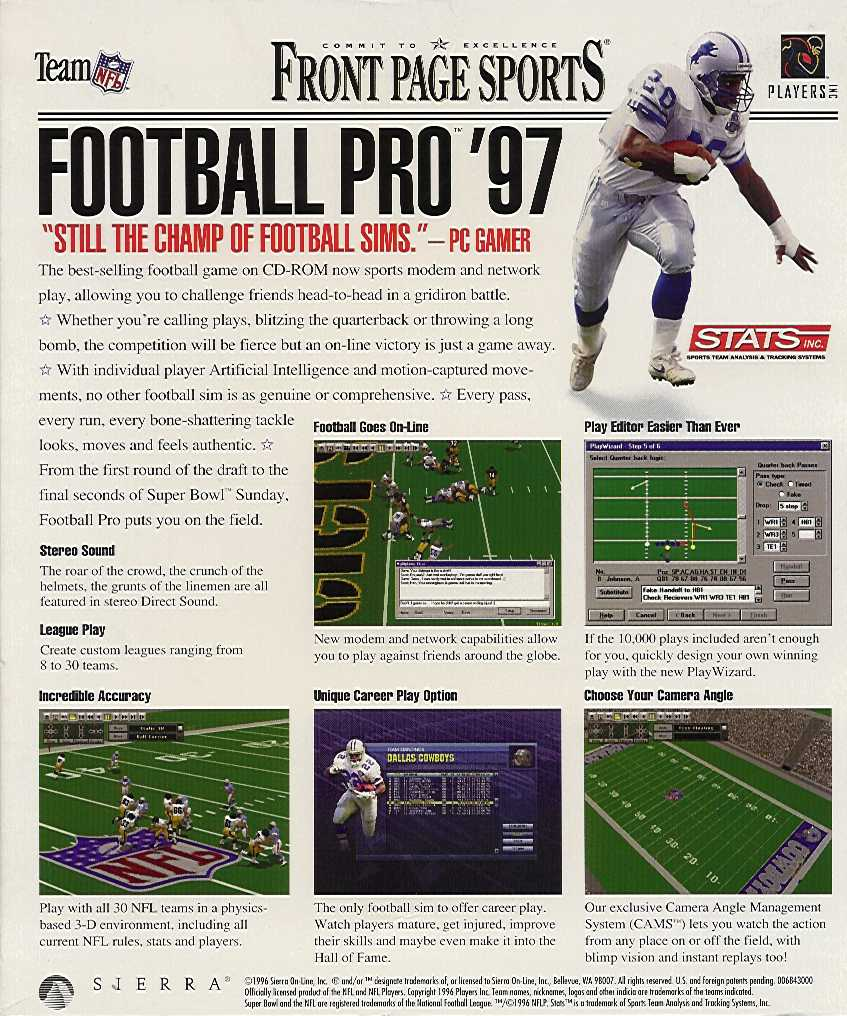 Retail Box back Front Page Sports Football Pro '97.