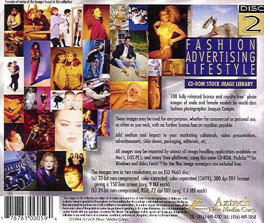 Retail Box back Fashion Advertising Lifestyle Volume 1 Disc 2.