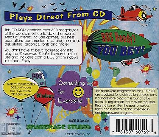 Jewel Case back Shareware Studio VI.