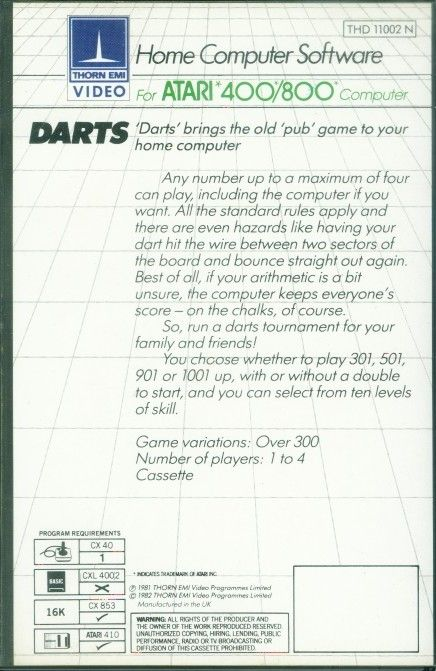 Plastic Clamshell back Darts.
