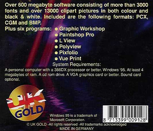 Jewel Case back World Of Windows 95 Clipart & Fonts.