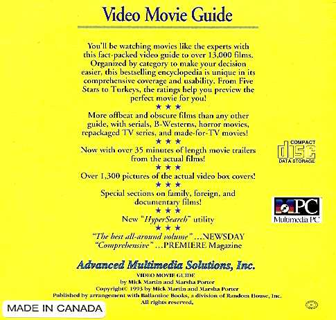 Retail Box back Video Movie Guide.