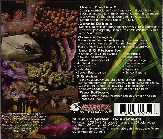 Jewel Case back Big Picture: Under The Sea 2.