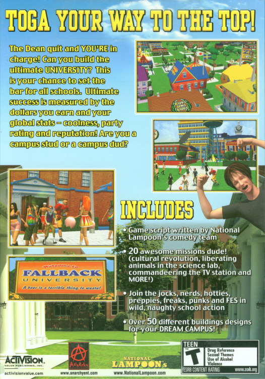 Retail box back National Lampoon's University Tycoon PC.