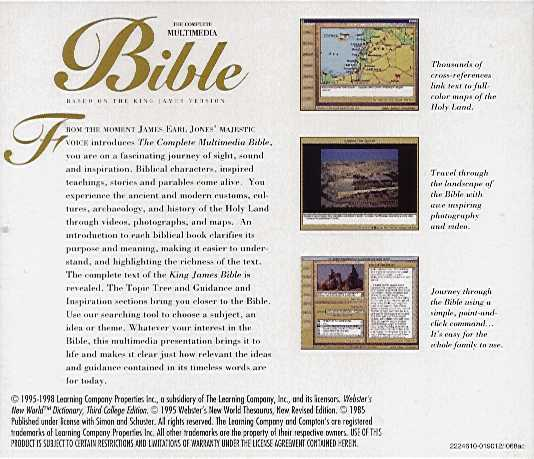Retail Box back Complete Multimedia Bible.
