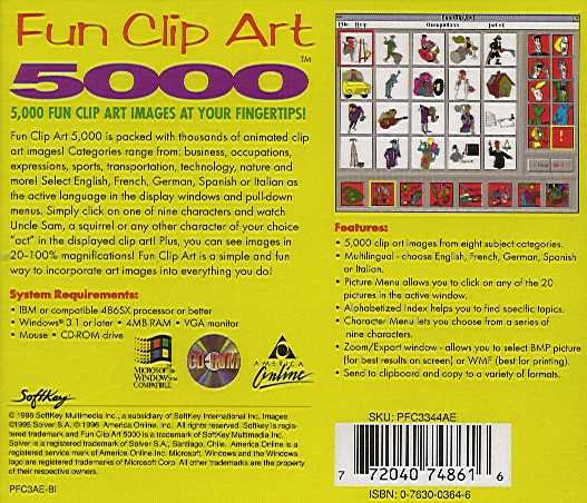 Retail Box back Fun Clip Art 5000.