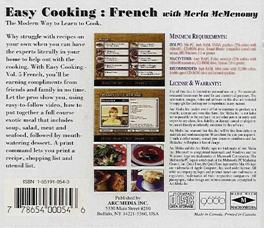 Jewel Case back Easy Cooking: French.