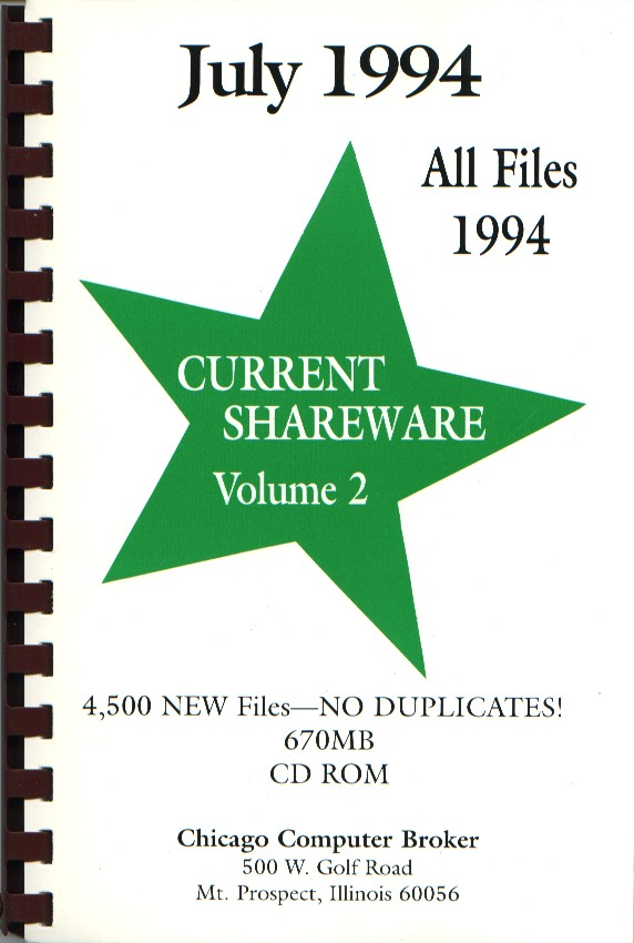 Packaging cover Current Shareware July 1994.