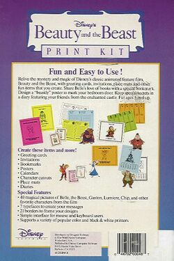 Retail Box back Beauty And The Beast Print Kit.